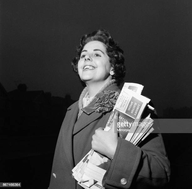 Betty Boothroyd canvassing ahead of the Leicester South East byelection held on 28 November 1957 Picture taken 25th November 1957