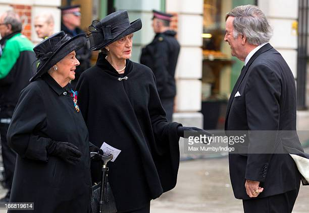 Betty Boothroyd Lady Susan Hussey and Sir Terry Wogan attend the funeral of former British Prime Minister Baroness Margaret Thatcher at St Paul's...