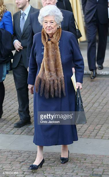 Betty Boothroyd leaves a memorial service for Sir David Frost at Westminster Abbey on March 13 2014 in London England