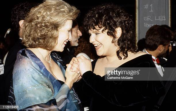 Betty Buckley and Wendy Wasserstein at the 43rd Annual Tony Awards on June 4 1989 at the LuntFontanne Theater in New York City New York