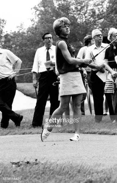 Betty Burfeindt of the United States follows her shot during the 1972 U.S. Women's Open Golf Championship on July 2, 1972 at the Winged Foot Golf...