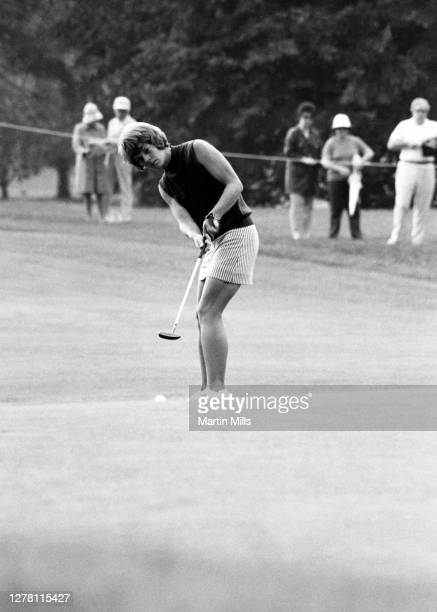 Betty Burfeindt of the United States putts during the 1972 U.S. Women's Open Golf Championship on July 2, 1972 at the Winged Foot Golf Club, East...