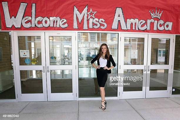 Betty Cantrell Miss America 2016 is welcomed before she performs and takes questions from students at Richmond Avenue School on October 8 2015 in...