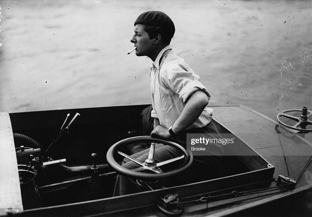 Betty Carstairs, the only woman competitor for the Duke of York's International Gold trophy, in the motor-boat race on the Thames between Putney and Kew.
