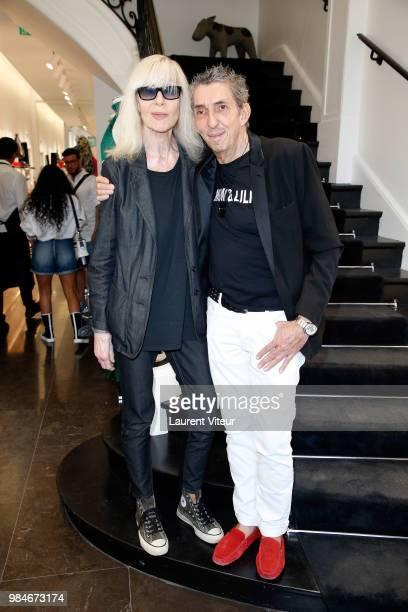 """Betty Catroux and Designer Michel Klein attend """"Lili et Mimi sont au Premier"""" at Montaigne Market on June 26, 2018 in Paris, France."""
