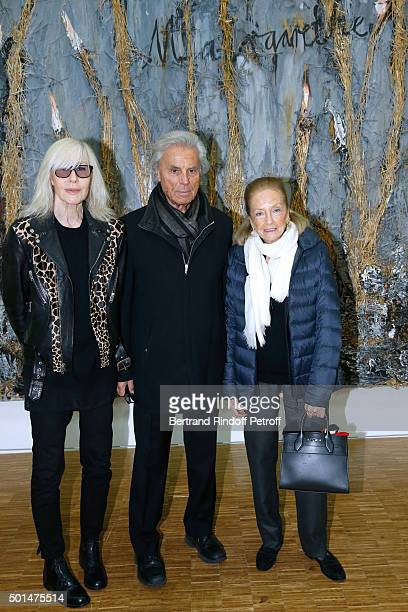 Betty Catroux Francois Catroux and Doris Brynner attend the Anselm Kiefer's Exhibition Press Preview held at Centre Pompidou on December 15 2015 in...