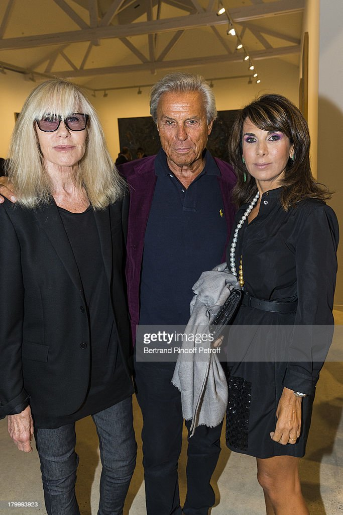 Betty Catroux, Francois Catroux and Marianna Stafilopati attend the Georg Baselitz exhibition preview and dinner at Thaddeus Ropac Gallery on September 7, 2013 in Pantin, east of Paris, France. The exhibition opens on September 8.