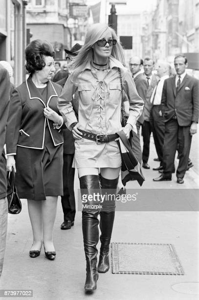 Betty Catroux model and muse of Yves Saint Laurent pictured outside his first London Rive Gauche store on New Bond Street London opening day 10th...