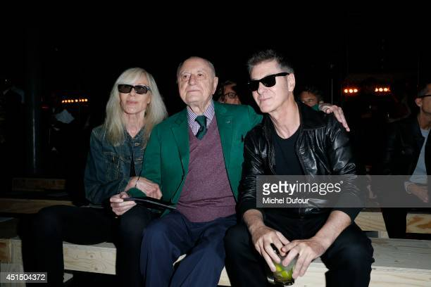 Betty Catroux Pierre Bergé and Etienne Daho attend the Saint Laurent show as part of the Paris Fashion Week Menswear Spring/Summer 2015 on June 29...