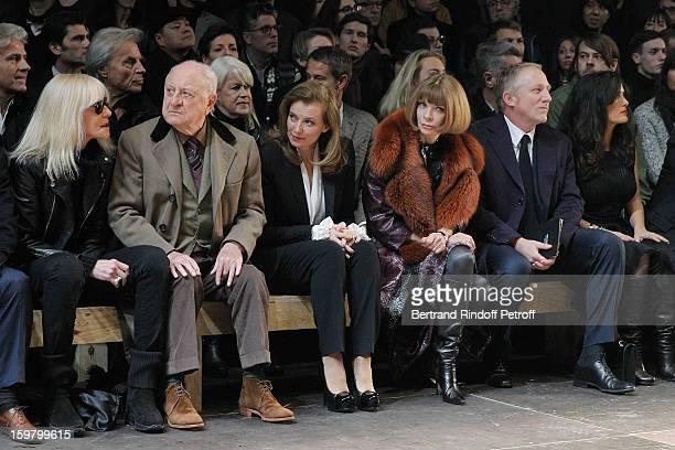 Betty Catroux, Pierre Berge, Valerie Trierweiler, Anna Wintour, Francois-Henri Pinault and Salma Hayek attend the Saint Laurent Men Autumn / Winter...
