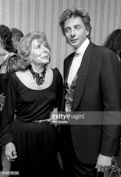 Betty Comden and Barry Manilow attend 22nd Annual Songwriters Hall of Fame Induction Dinner on May 29 1991 at the New York Hilton Hotel in New York...