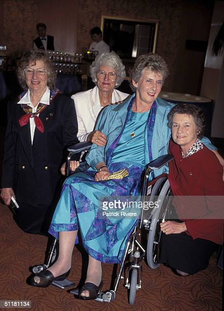 Betty Cuthbert and Shirley Strickland with guests at The Betty Cuthbert Testimonial Lunch in Sydney