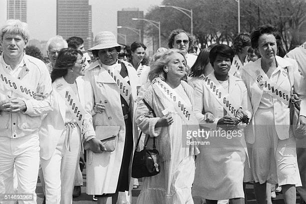 Supporters march in Chicago in support of the ratification of the Equal Rights Amendment to the US Constitution