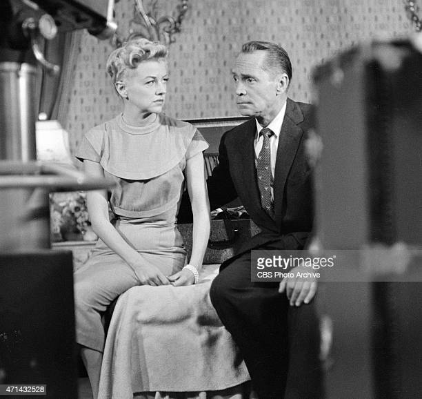 """Betty Furness as Beth Jaynes and Franchot Tone as Dr. Ken Jaynes on the CLIMAX episode, """"Silent Decision."""" Image dated September 15, 1955."""
