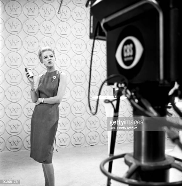 Betty Furness, spokeswoman for Westinghouse home appliances, is photographed while working at the 1960 Democratic National Convention at the Los...