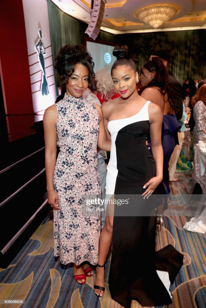 Betty Gabriel (L) and Ajiona Alexus onstage during the 2018 Essence Black Women In Hollywood Oscars Luncheon at Regent Beverly Wilshire Hotel on March 1, 2018 in Beverly Hills, California.