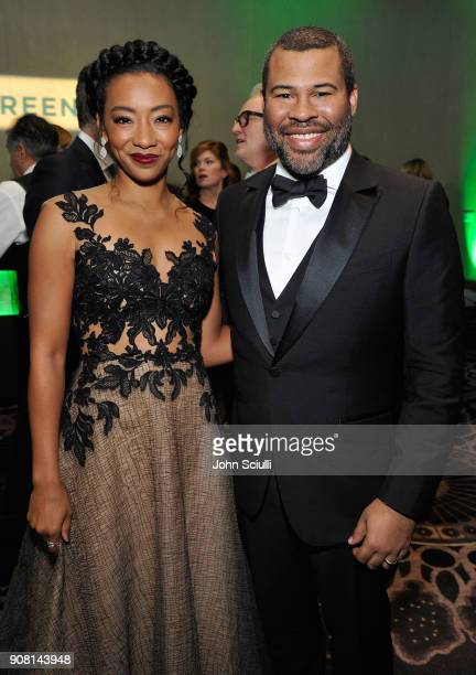 Betty Gabriel and Jordan Peele attend the 29th Annual Producers Guild Awards supported by GreenSlate at The Beverly Hilton Hotel on January 20 2018...