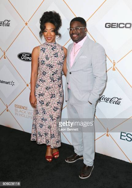 Betty Gabriel and Lil Rel Howery attend the 2018 Essence Black Women In Hollywood Oscars Luncheon at Regent Beverly Wilshire Hotel on March 1, 2018...