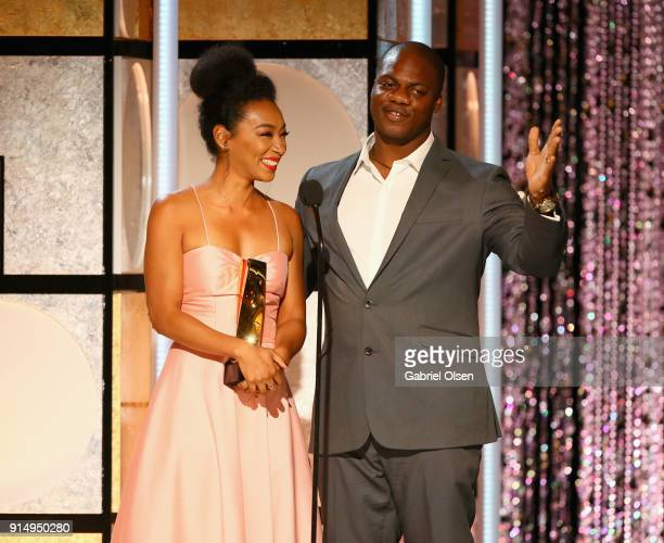 Betty Gabriel and Marcus Henderson accept the award for Best Ensemble for Get Out at AARP The Magazine's 17th Annual Movies For Grownups Awards at...