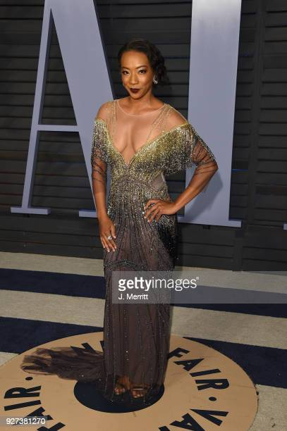 Betty Gabriel attends the 2018 Vanity Fair Oscar Party hosted by Radhika Jones at the Wallis Annenberg Center for the Performing Arts on March 4 2018...