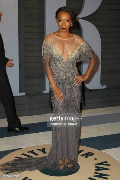 Betty Gabriel attends the 2018 Vanity Fair Oscar Party hosted by Radhika Jones at Wallis Annenberg Center for the Performing Arts on March 4 2018 in...