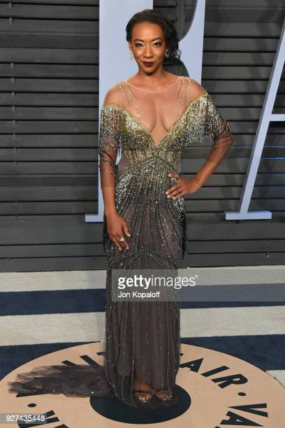 Betty Gabriel attends the 2018 Vanity Fair Oscar Party hosted by Radhika Jones at Wallis Annenberg Center for the Performing Arts on March 4, 2018 in...