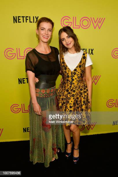 Betty Gilpin and Alison Brie attend Netflix's Glow celebrates its 10 Emmy Nominations with RollerSkating event at World on Wheels on July 29 2018 in...