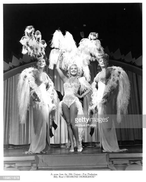 Betty Grable on stage in a scene from the film 'Diamond Horseshoe' 1945
