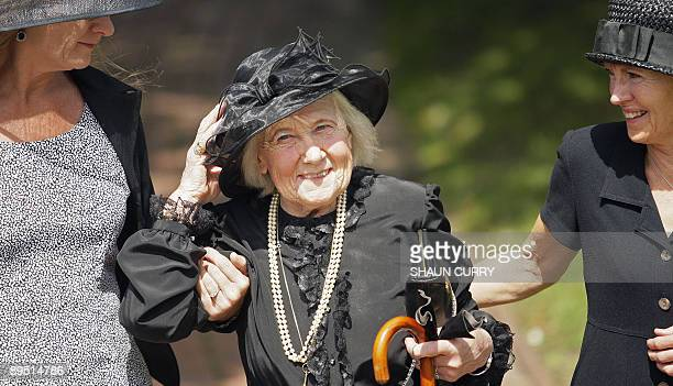 Betty Hankin, a daughter of Henry Allingham, arrives at St Nicholas Church in Brighton, in southern England, on July 30 for a funeral service for her...