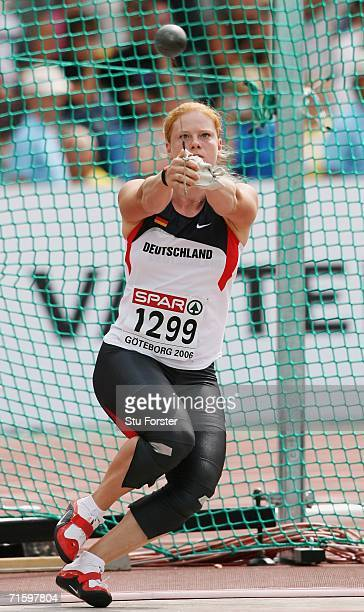 Betty Heidler of Germany competes during the Women's Hammer throw Qualifying Round on day one of the 19th European Athletics Championships at the...