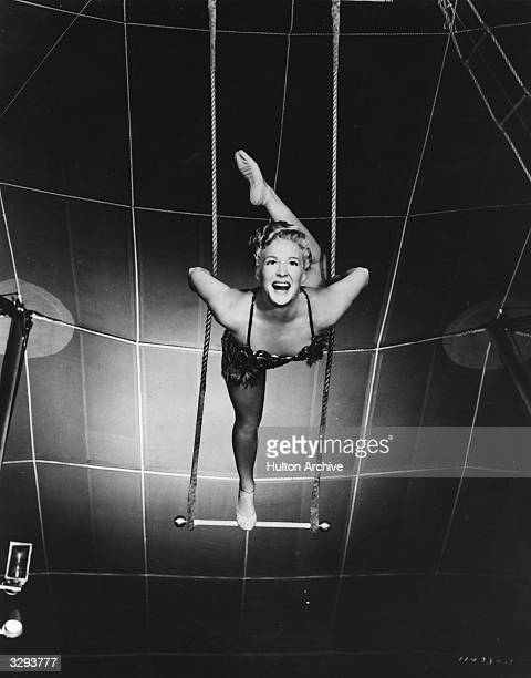 Betty Hutton does her trapeze act for the epic circus drama 'The Greatest Show On Earth' directed by Cecil B DeMille