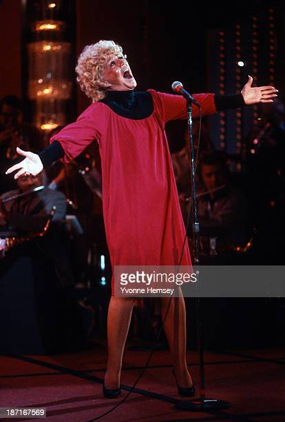 Betty Hutton is photographed January 13 1983 in New York City at a rehearsal for Jukebox Saturday Night a PBS concert series featuring Ms Hutton...