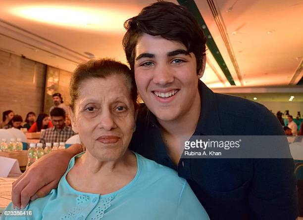 Betty Kapadia with her greatgrandson Aarav Bhatia at the launch of his mother Twinkle Khanna's book The Legend of Lakshmi Prasad published by...