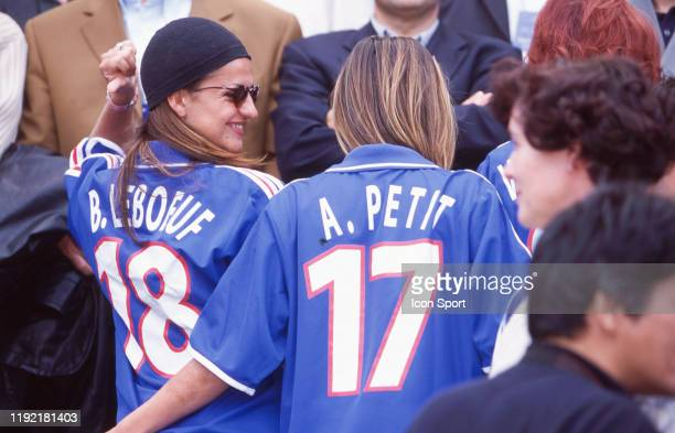 Betty Leboeuf wife of Frank Leboeuf and Agathe de la Fontaine wufe of Emmanuel Petit of France during the European Championship match between France...