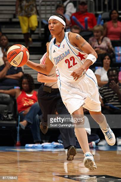 Betty Lennox of the Atlanta Dream pushes the ball upcourt against the Chicago Sky during the WNBA game on June 6 2008 at Philips Arena in Atlanta...