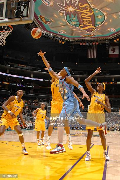 Betty Lennox of the Atlanta Dream puts up a shot during a game against the Los Angeles Sparks on September 11 2008 at Staples Center in Los Angeles...