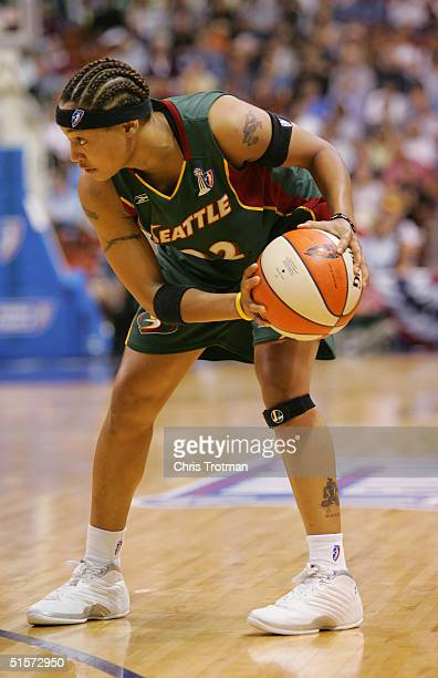 Betty Lennox of the Seattle Storm looks to make a move in Game 1 of the WNBA Finals against the Connecticut Sun at the Mohegan Sun Arena on October...