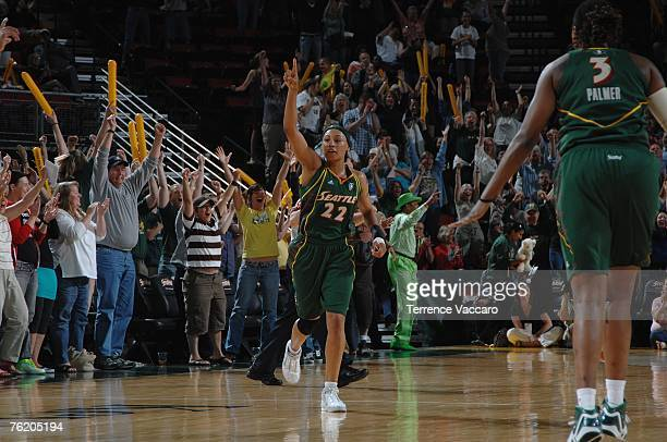 Betty Lennox of the Seattle Storm runs upcourt during the WNBA game against the San Antonio Silver Stars on July 29 2007 at the Key Arena in Seattle...