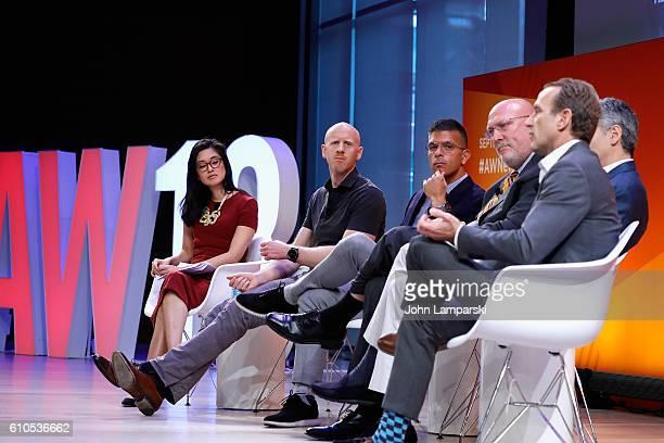 Betty Liu Tim Cadogan Erik Franchi Scott Howe Gregory R Raifman and Mark Zagorski speak onstage at the The Programmatic Evolution panel on the Times...
