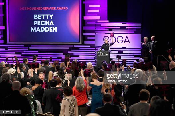 Betty Pecha Madden accepts the Distinguished Service Award onstage during The 21st CDGA at The Beverly Hilton Hotel on February 19 2019 in Beverly...
