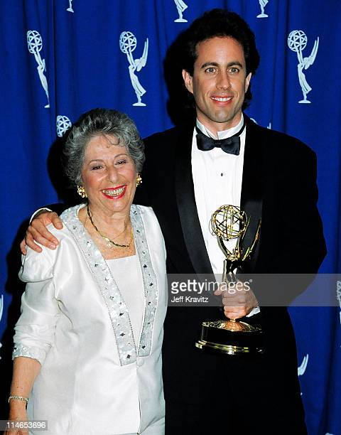 Betty Seinfeld and Jerry Seinfeld during 1993 Emmy Awards Press Room in Los Angeles CA United States