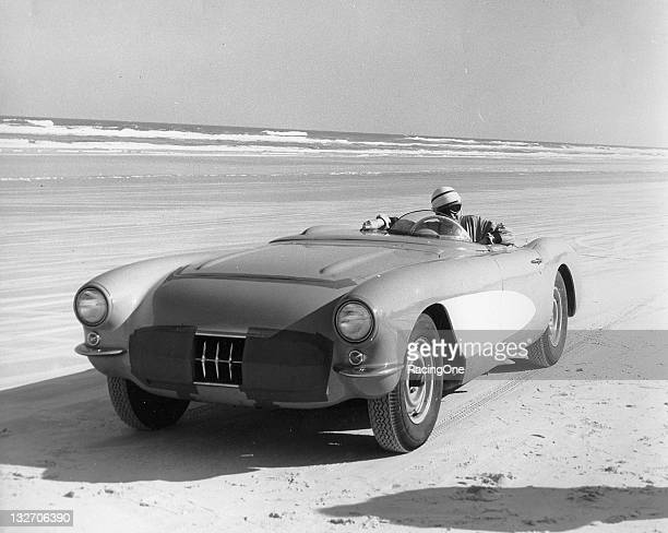 Betty Skelton at the wheel of a Chevrolet Corvette on the Daytona Beach Road Course in the mid 1950's