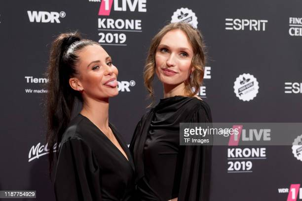 Betty Taube and Anna Wilken arrives for the 1Live Krone radio award at Jahrhunderthalle on December 5 2019 in Bochum Germany