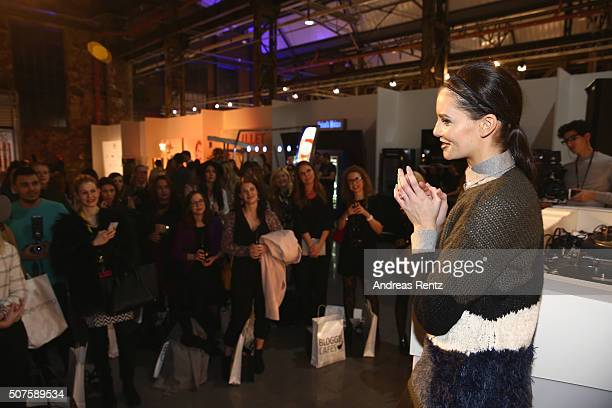 Betty Taube talks to bloggers at the Fashionbloggercafe The Night during Platform Fashion January 2016 at Areal Boehler on January 30 2016 in...