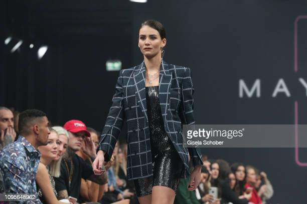 Betty Taube walks the runway at the Maybelline New York show 'Makeup that makes it in New York' during the Berlin Fashion Week Autumn/Winter 2019 at...