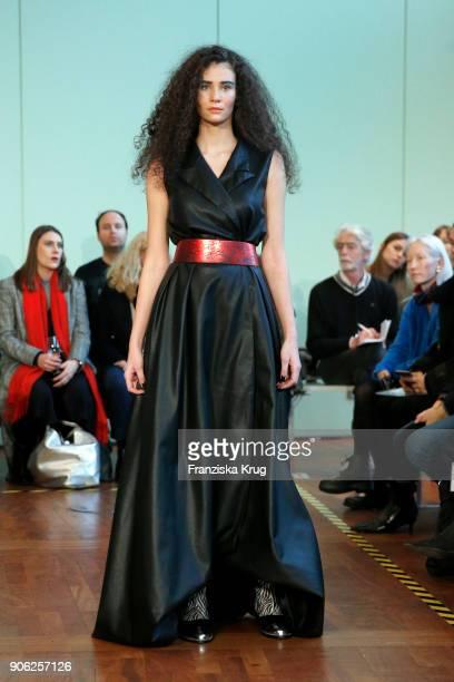 Betty Taube walks the runway during the Rebekka Ruetz Fashion Show at Embassy of Austria on January 16 2018 in Berlin Germany