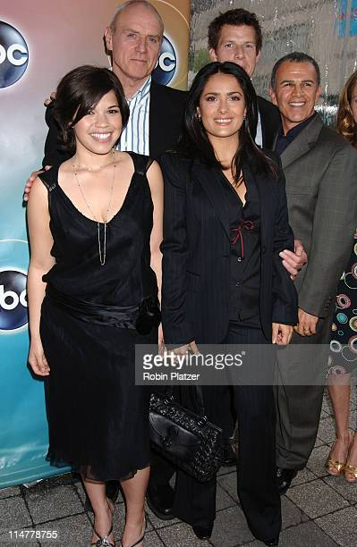 Betty The Ugly Cast with Producer Salma Hayek during ABC Upfront 2006/2007 Arrivals at Lincoln Center in New York City New York United States