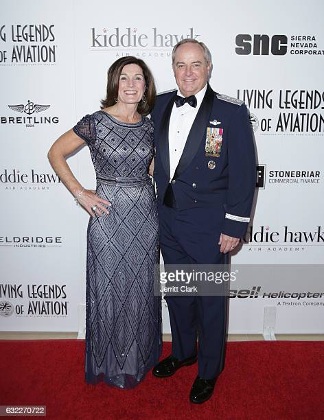 Betty Welsh and Former Chief of Staff of the United States Airforce Mark Anthony Welsh III attends the 14th Annual Living Legends Of Aviation Awards...