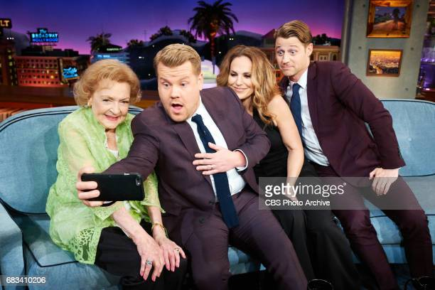 Betty White Amy Brenneman and Ben McKenzie chat with James Corden during The Late Late Show with James Corden Wednesday May 10 2017 On The CBS...