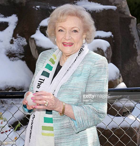 Betty White attends Betty White Out Tour at The Los Angeles Zoo with The Lifeline Program at Los Angeles Zoo on December 11 2012 in Los Angeles...
